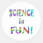 La ciencia es diversión pegatinas redondas