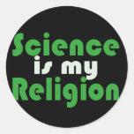 La ciencia es mi religión etiqueta redonda