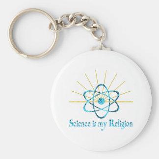 La ciencia es mi religión llavero redondo tipo pin