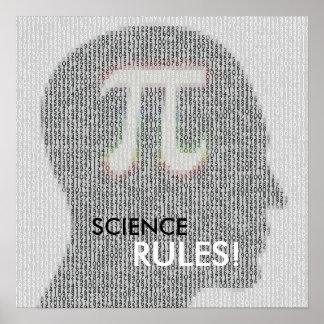 La CIENCIA GOBIERNA número de la matemáticas pi Póster