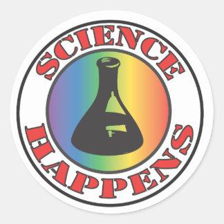 La ciencia sucede pegatina redonda