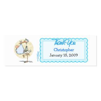 La cigüeña del muchacho agradece la etiqueta del tarjetas de visita mini