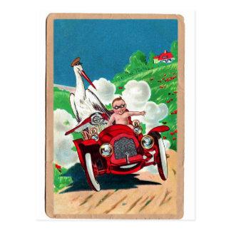 La cigüeña retra del kitsch del vintage entrega al postal