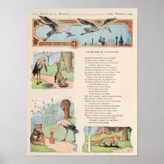 La cigüeña y el Fox de las fábulas Posters