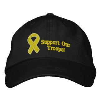 La cinta amarilla apoya a nuestras tropas gorro bordado