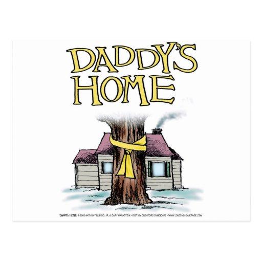 La cinta amarilla casera del papá tarjeta postal