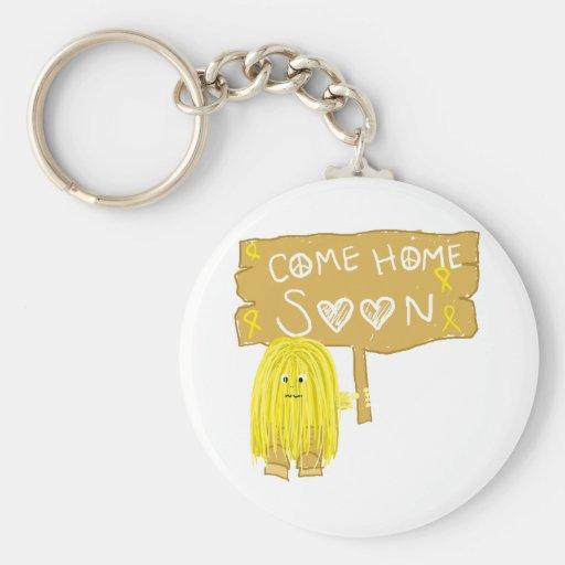 La cinta amarilla viene a casa pronto llavero redondo tipo pin