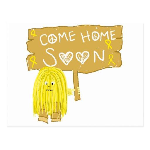 La cinta amarilla viene a casa pronto postal