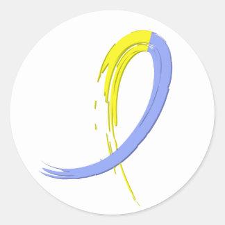 La cinta azul y amarilla A4 de Síndrome de Down Etiquetas Redondas