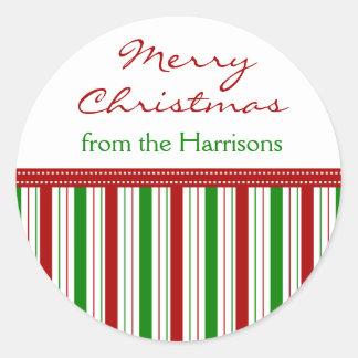 La cinta conocida de encargo del navidad raya a pegatina redonda