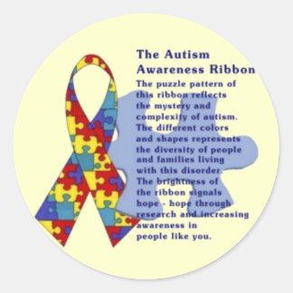 """""""La cinta de la conciencia del autismo """" Pegatinas Redondas"""