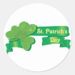 La cinta de St Patrick Etiquetas Redondas