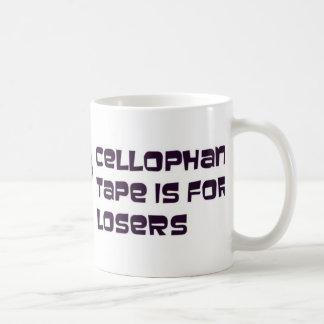 La cinta del celofán está para los perdedores taza de café