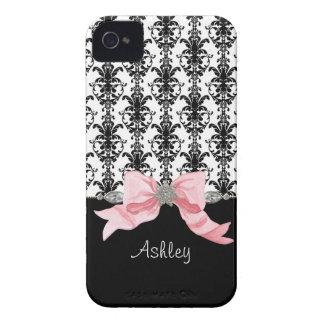 La cinta del damasco de la hoja floral del arco de iPhone 4 Case-Mate carcasas