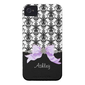 La cinta del damasco de la hoja floral del arco de Case-Mate iPhone 4 cárcasa