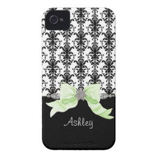 La cinta del damasco de la hoja floral del arco de Case-Mate iPhone 4 fundas