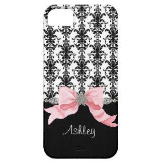 La cinta del damasco de la hoja floral del arco de iPhone 5 funda