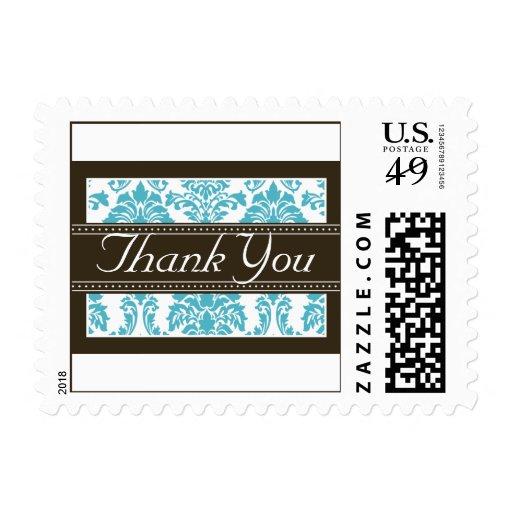 La cinta elegante del damasco de la aguamarina le sellos postales