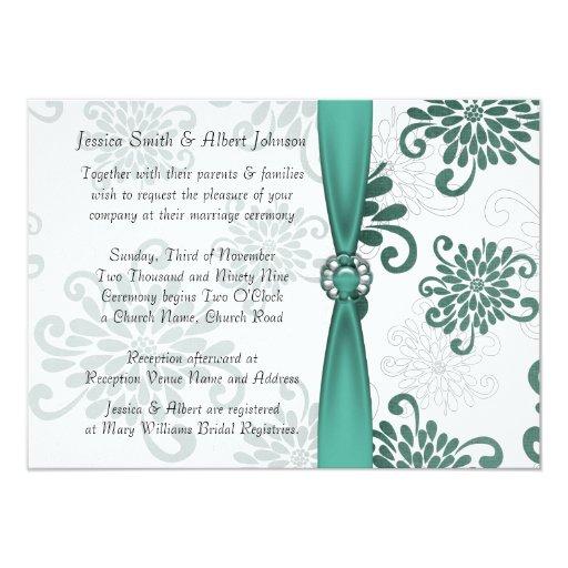 """La cinta floral esmeralda elegante del damasco invitación 4.5"""" x 6.25"""""""