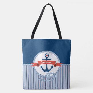 La cinta náutica de la cuerda del ancla raya el bolsa de tela