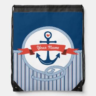 La cinta náutica de la cuerda del ancla raya el mochila