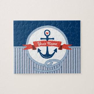 La cinta náutica de la cuerda del ancla raya el rompecabezas con fotos
