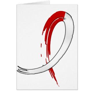 La cinta roja y blanca A4 del cáncer oral Tarjeta De Felicitación