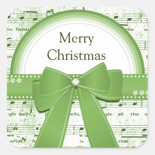 La cinta verde de las Felices Navidad observa al Calcomanía Cuadradas Personalizada