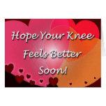 La cirugía de la rodilla consigue pronto corazones tarjeta