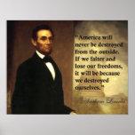 "La cita ""América de Abraham Lincoln nunca estará…  Poster"