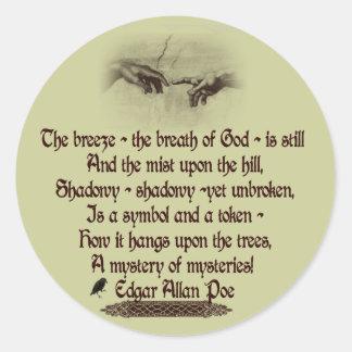 La cita de Edgar Allan Poe Etiquetas Redondas