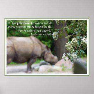 La cita de Gandhi, trata los animales bien Póster