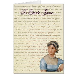 La cita de Jane Austen escribe su propia tarjeta
