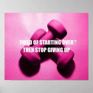 La cita de la motivación del entrenamiento no da póster