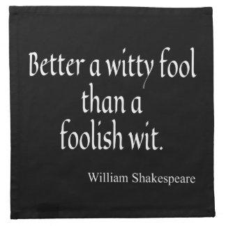 La cita de Shakespeare mejora un ingenio absurdo Servilletas De Papel