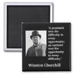 "La cita de Winston Churchill ""un pesimista conside Imán Cuadrado"