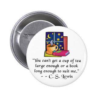 La cita del té y de los libros w abotona - 2 forma pins