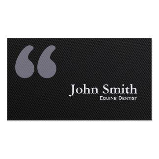 La cita oscura marca la tarjeta de visita equina d
