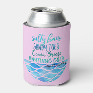 La cita salada de la playa del océano de los dedos enfriador de latas
