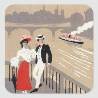 La Cite Art Deco Scene Square Sticker