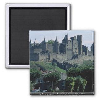 La Cite, Languedoc-Roussillon, Carcassonne, France 2 Inch Square Magnet