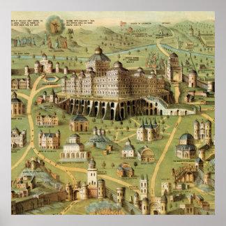 La ciudad antigua Jerusalén con el templo de Solom Póster