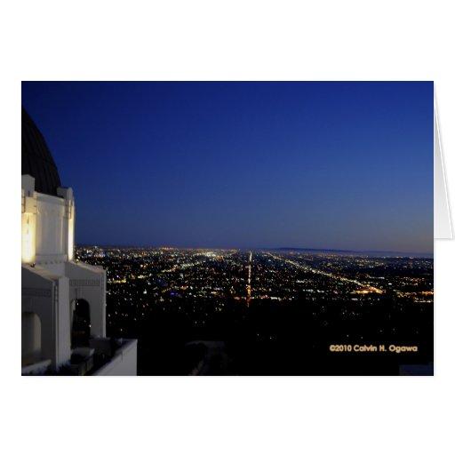 La ciudad crepuscular enciende el observatorio tarjeta de felicitación