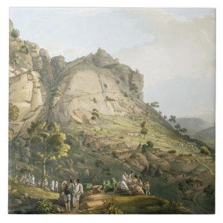 La ciudad de Abha en Abyssinia, grabada por J. Blu Azulejos Cerámicos