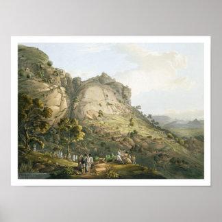La ciudad de Abha en Abyssinia, grabada por J. Blu Póster