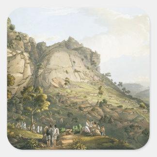 La ciudad de Abha en Abyssinia, grabada por J. Calcomania Cuadradas Personalizadas