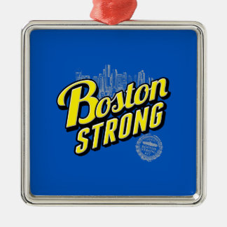 La ciudad de Boston fuerte recuerda en azul Adorno Navideño Cuadrado De Metal