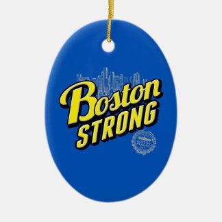 La ciudad de Boston fuerte recuerda en azul Adorno Navideño Ovalado De Cerámica