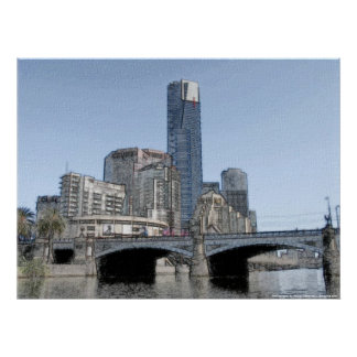 La ciudad de Melbourne - Australia Póster