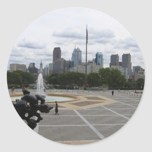 La ciudad de Philadelphia, del paso del museo de Pegatina Redonda